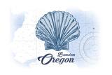 Bandon, Oregon - Scallop Shell - Blue - Coastal Icon Plakater af Lantern Press