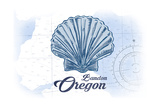 Bandon, Oregon - Scallop Shell - Blue - Coastal Icon Prints by  Lantern Press
