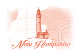 New Hampshire - Lighthouse - Coral - Coastal Icon Poster by  Lantern Press