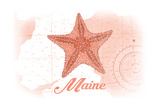 Maine - Starfish - Coral - Coastal Icon Print by  Lantern Press