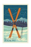 Killington, Vermont - Crossed Skis - Letterpress Prints by  Lantern Press