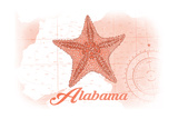 Alabama - Starfish - Coral - Coastal Icon Prints by  Lantern Press