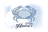 Waikiki, Hawaii - Crab - Blue - Coastal Icon Prints by  Lantern Press