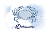 Delaware - Crab - Blue - Coastal Icon Prints by  Lantern Press