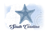 South Carolina - Starfish - Blue - Coastal Icon Prints by  Lantern Press