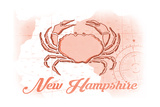 New Hampshire - Crab - Coral - Coastal Icon Posters by  Lantern Press
