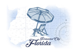 Panama City, Florida - Beach Chair and Umbrella - Blue - Coastal Icon Poster by  Lantern Press