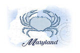 Maryland - Crab - Blue - Coastal Icon Poster by  Lantern Press