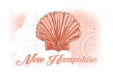 New Hampshire - Scallop Shell - Coral - Coastal Icon Print by  Lantern Press