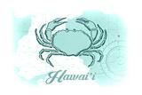 Hawaii - Crab - Teal - Coastal Icon Print by  Lantern Press