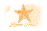 Rhode Island - Starfish - Yellow - Coastal Icon Prints by  Lantern Press