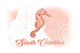South Carolina - Seahorse - Coral - Coastal Icon Print by  Lantern Press