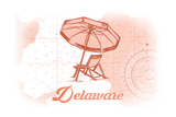 Delaware - Beach Chair and Umbrella - Coral - Coastal Icon Prints by  Lantern Press