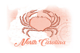 North Carolina - Crab - Coral - Coastal Icon Prints by  Lantern Press
