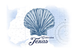 Galveston, Texas - Scallop Shell - Blue - Coastal Icon Prints by  Lantern Press