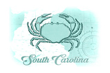 South Carolina - Crab - Teal - Coastal Icon Posters by  Lantern Press