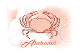 Alabama - Crab - Coral - Coastal Icon Prints by  Lantern Press