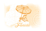 Florida - Beach Chair and Umbrellas - Yellow - Coastal Icon Art by  Lantern Press