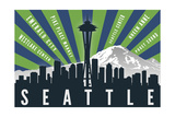 Seattle, Washington - Skyline and Mountain - Graphic Typography Prints by  Lantern Press