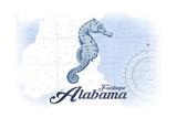 Fairhope, Alabama - Seahorse - Blue - Coastal Icon Art by  Lantern Press