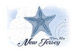 Cape May, New Jersey - Starfish - Blue - Coastal Icon Prints by  Lantern Press