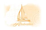 Alabama - Sailboat - Yellow - Coastal Icon Prints by  Lantern Press
