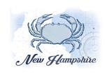 New Hampshire - Crab - Blue - Coastal Icon Prints by  Lantern Press