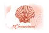 Connecticut - Scallop Shell - Coral - Coastal Icon Print by  Lantern Press