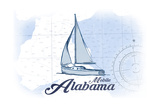 Mobile, Alabama - Sailboat - Blue - Coastal Icon Posters by  Lantern Press