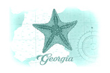 Georgia - Starfish - Teal - Coastal Icon Prints by  Lantern Press