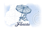 Florida - Beach Chair and Umbrellas - Blue - Coastal Icon Posters by  Lantern Press
