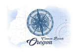 Cannon Beach, Oregon - Compass - Blue - Coastal Icon Prints by  Lantern Press
