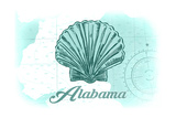 Alabama - Scallop Shell - Teal - Coastal Icon Posters by  Lantern Press