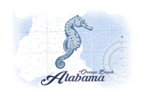 Orange Beach, Alabama - Seahorse - Blue - Coastal Icon Art by  Lantern Press