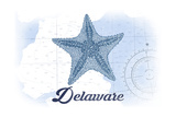 Delaware - Starfish - Blue - Coastal Icon Print by  Lantern Press
