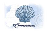 Connecticut - Scallop Shell - Blue - Coastal Icon Prints by  Lantern Press