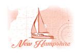 New Hampshire - Sailboat - Coral - Coastal Icon Posters by  Lantern Press
