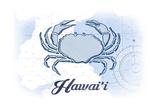 Hawaii - Crab - Blue - Coastal Icon Poster by  Lantern Press