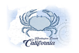 Huntington Beach, California - Crab - Blue - Coastal Icon Posters by  Lantern Press