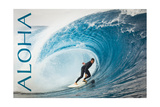 Surfer in Perfect Wave - Aloha Prints by  Lantern Press