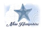 New Hampshire - Starfish - Blue - Coastal Icon Prints by  Lantern Press