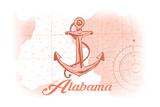 Alabama - Anchor - Coral - Coastal Icon Prints by  Lantern Press