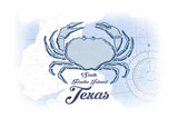 South Padre Island, Texas - Crab - Blue - Coastal Icon Prints by  Lantern Press