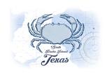South Padre Island, Texas - Crab - Blue - Coastal Icon Prints by  Lantern Press