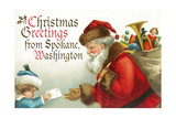 Christmas Greetings from Spokane, Washington - Santa Getting Letter Prints by  Lantern Press