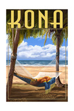 Kona, Hawaii - Hammock and Palms Posters by  Lantern Press