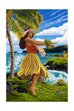 Hula Girl on Coast Posters by  Lantern Press