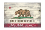 Laguna Beach, California - California State Flag - Barnwood Painting Posters by  Lantern Press