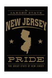 New Jersey State Pride - Gold on Black Prints by  Lantern Press