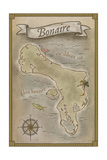 Bonaire, Dutch Caribbean - Treasure Map Posters by  Lantern Press